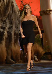 Jennifer Aniston stuck to a strapless LBD with a ruffled side detail for her look at Spike TV 'Guys Choice 2013' show.