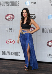 Jackie Tranchida added a boho vibe to her look with a printed blue maxi skirt.