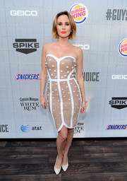 Keltie Knight chose a fun and chic pearl-studded nude and white strapless dress for Spike TV's Guys Choice 2014.