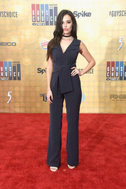 Chloe Bridges kept it low-key in a navy pinstriped jumpsuit during Spike TV's Guys Choice 2016.