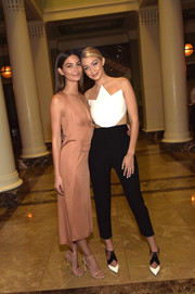 Gigi Hadid rocked a funky black-and-white Peggy Hartanto jumpsuit at the SI Swimsuit Takes Over the Schermerhorn Symphony Center event.