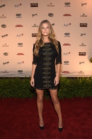 Nina Agdal was sexy yet classy in a micro-beaded, gold-embroidered LBD at the SI Swimsuit Takes Over the Schermerhorn event.
