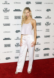 Hailey Clauson looked effortlessly sexy in a sequined white camisole by Tibi at the Sports Illustrated Swimsuit 2016 celebration.