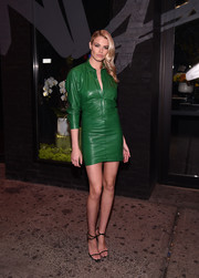 Hailey Clauson was chic in green leather at the SI Fashionable 50 NYC event.