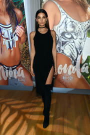 Lily Aldridge chose a black Mugler tank dress with a hip-high slit for the Sports Illustrated Swim City event.