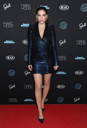 Barbara Palvin worked a metallic blue tuxedo dress at the Sports Illustrated Swimsuit 2018 launch event.