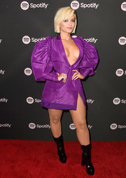 Bebe Rexha was impossible to miss in this purple mini dress that featured a plunging neckline and oversized sleeves at the Spotify Best New Artist 2019 event.