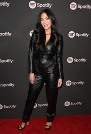Nicole Scherzinger went for an edgy black leather jumpsuit at the Spotify Best New Artist 2019 event.