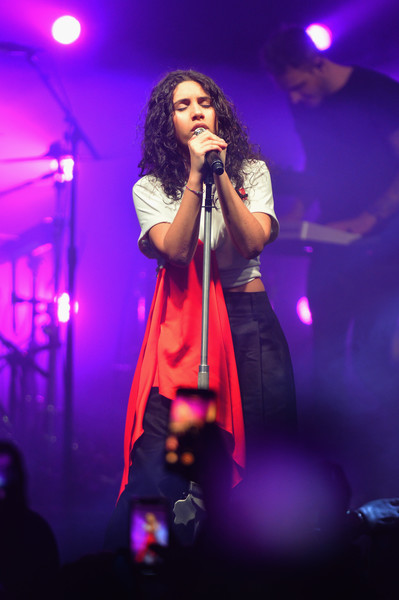 Alessia Cara performed during Spotify's Best New Artist party wearing a white and red drape-detail crop-top by MSGM.