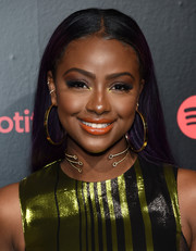 Justine Skye looked simply elegant with her loose straight style during Spotify's Best New Artist party.