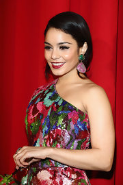 Vanessa Hudgens' opted for over-sized dangling earrings to match her multi-colored gown at the 'Spring Breakers' premiere.