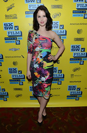 Rachel Korine showed off her playful side with this one-shoulder dress with vibrant colors and crazy prints.
