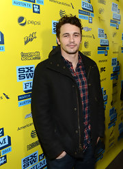 James Franco opted for a super casual red carpet look with this zip-up wool coat.