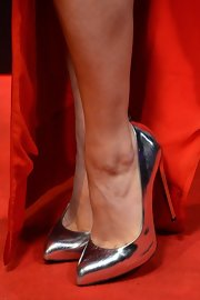 Vanessa Hudgens' silver pumps were classic with a bit of modern touch to them on the red carpet for 'Spring Breakers.'
