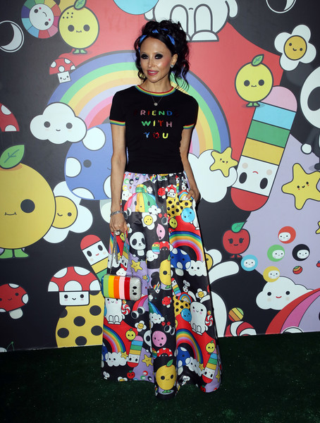 Stacey Bendet Long Skirt [stacey bendet,clothing,pattern,fashion,dress,textile,fashion design,art,style,visual arts,hollywood,california,hollywood athletic club,alice olivia,friendswithyou collection la launch party,launch party]