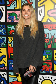 Jessica Hart accessorized with an Alice + Olivia 'Queen 01' beaded clutch at the launch of Keith Haring x Alice + Olivia.