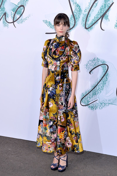 Stacy Martin Platform Sandals [clothing,fashion model,fashion,yellow,dress,fashion design,street fashion,footwear,flooring,formal wear,arrivals,stacy martin,london,england,the serpentine gallery,serpentine galleries summer party,the serpentine galleries summer party]