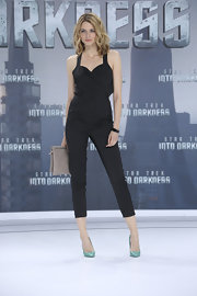 Eva Padberg showed off her long legs with this strapless jumpsuit.