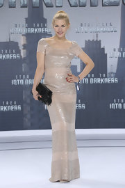 Julia Dietze's nude-colored sequin dress gown for her elegant look at the 'Star Trek Into Darkness' premiere in Berlin.