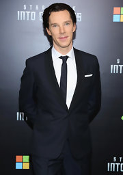 British actor Benedict Cumberbatch wore a sharp blue tuxedo and thin solid tie for the Star Trek screening in New York City.