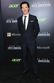 Benedict Cumberbatch chose a sleek and modern shawl-collar suit for his look at the 'Star Trek Into Darkness' screening in NYC.