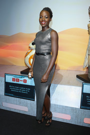 Lupita Nyong'o chose a pair of knot-embellished strappy sandals to finish off her look.