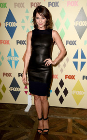 Katie Aselton donned a simple black leather dress for the Fox All-Star Party.