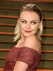 Malin Akerman went for edgy styling with this wet-look hairstyle during the Vanity Fair Oscar party.