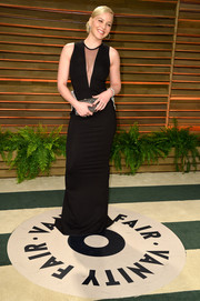 Abbie Cornish oozed sexy sophistication at the Vanity Fair Oscar party in a sleeveless black Toni Maticevski gown with a cleavage-baring insert.