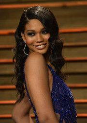 Chanel Iman wore her locks in lovely waves during the Vanity Fair Oscar party.