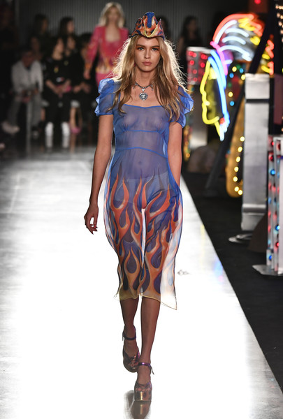 Stella Maxwell Sheer Dress [image,fashion model,fashion show,runway,fashion,clothing,shoulder,cobalt blue,electric blue,dress,joint,stella maxwell,moschino spring,menswear,nudity,summer 18 menswear and womens resort collection - runway,runway,california,hollywood,milk studios]