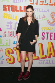 Kate Mara kept it low-key in a loose black blazer dress by Stella McCartney during the brand's Autumn 2018 collection launch.