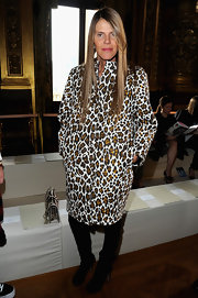 Anna dello Russo showed her funky style at Stella McCartney's runway show in France where she wore a leopard print coat.
