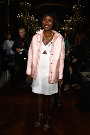 Shala Monroque's pink Miu Miu down jacket at the Stella McCartney show was a super-cute way to keep warm.