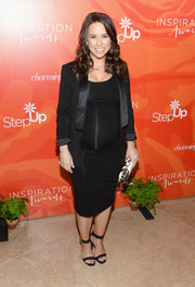 Lacey Chabert completed her all-black look with a pair of ankle-cuff sandals.