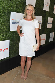 Amy Smart chose a classic-looking fish scale embroidered frock for the Inspiration Awards in Beverly Hills.