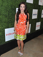 Sharna Burgess chose this printed frock that combined cool tangerine and funky lime shades.