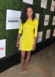 Jurnee Smollett's sunshine yellow dress featured orange beads at the collar for an added touch of flare.