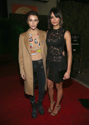 Ruby Rose teamed a tan wool coat with a sheer, emrboidered top and black skinny jeans for the Janie's Fund Gala.