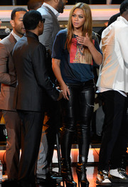 Beyonce Knowles completed her look with black lace-up platform boots by Alaia.