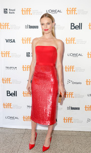 Kate Bosworth brought a shock of color to the 'Still Alice' premiere with this crimson strapless dress by BOSS.
