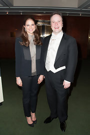 Princess Madeleine wore a black and gray paneled blazer that showed off her slender arms as she attended an event hosted by the Stockholm Concert Hall Foundation.