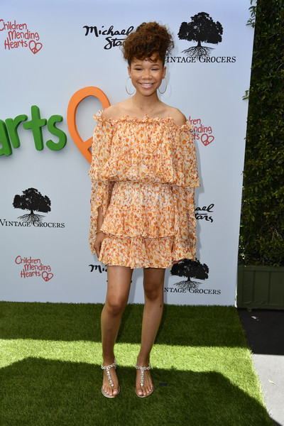 Storm Reid Thong Sandals [clothing,shoulder,dress,cocktail dress,fashion,red carpet,hairstyle,premiere,fashion model,joint,arrivals,storm reid,private residence,bel air,california,empathy rocks fundraiser]