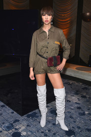 Jackie Cruz teamed her romper with a pair of pearl-gray over-the-knee boots.