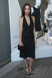 Rebecca Dayan vamped it up in a deep-V, semi-sheer LBD at the StyleWatch x Revolve Fall Fashion Party.