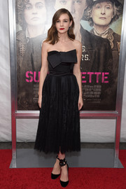 Carey Mulligan oozed ultra-feminine elegance at the 'Suffragette' New York premiere in a strapless black Alexander McQueen dress adorned with a huge bow across the bustline.