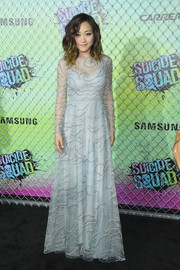 Karen Fukuhara looked ethereal in a delicately embroidered pastel-blue gown by Valentino at the world premiere of 'Suicide Squad.'