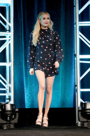 Emma Roberts kept it cute and youthful in a floral romper by Miu Miu at the Summer 2018 TCA Press Tour.