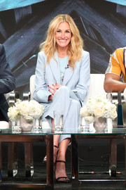 Julia Roberts suited up in this baby-blue jacket and pants combo by Sandro for the Summer 2018 TCA Press Tour.