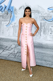 Neelam Gill was sweet and glam in a strapless pink dress by Georges Hobeika at the 2019 Serpentine Gallery Summer Party.